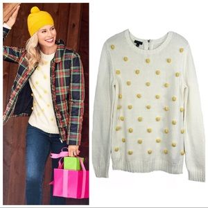 Talbots Pom Pom Sweater Yellow Baubles Crewneck